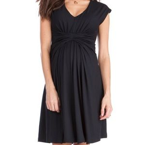 Seraphine Empire Detail Black Maternity Dress